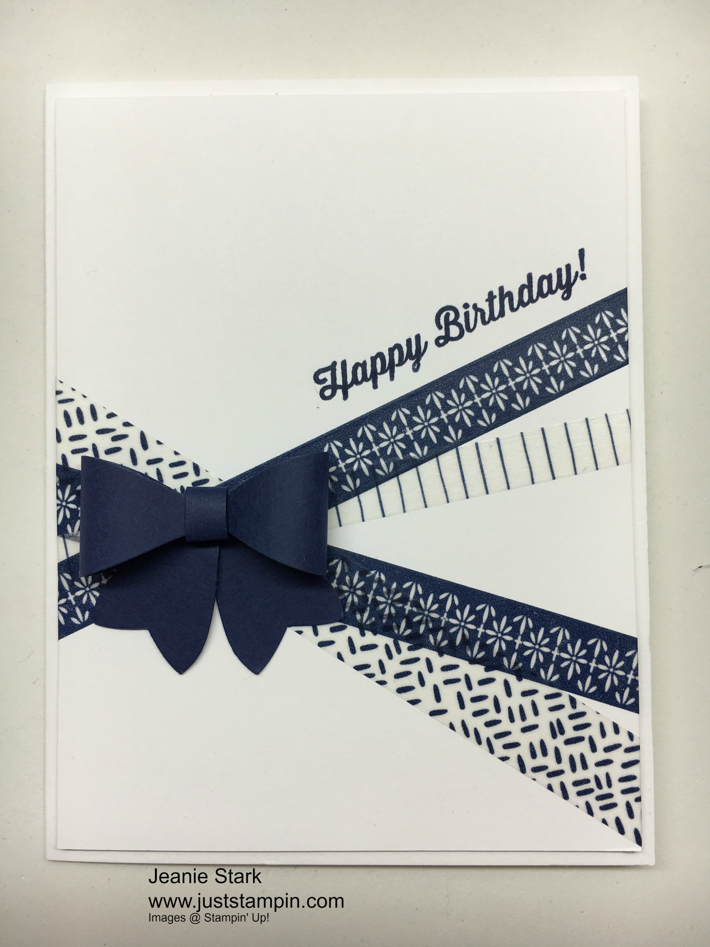 Stampin Up Bow Builder Punch Birthday card idea using washi tape - Jeanie Stark StampinUp