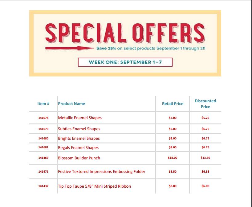 Special Offer Sept. 1-7