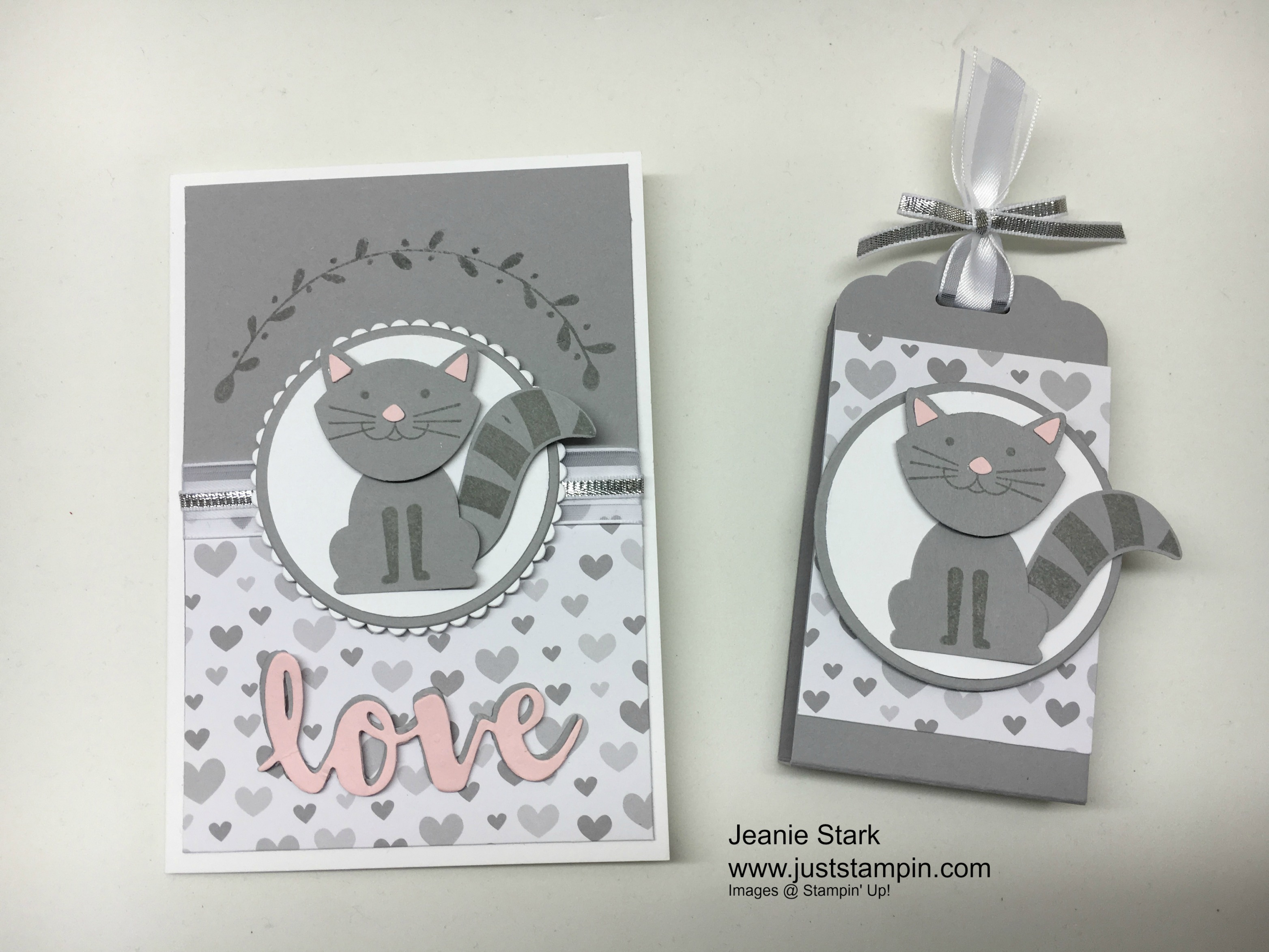 Stampin Up Foxy Friends Stamp Set and Fox Builder Punch cat card ad treat holder idea - Jeanie Stark StampinUp