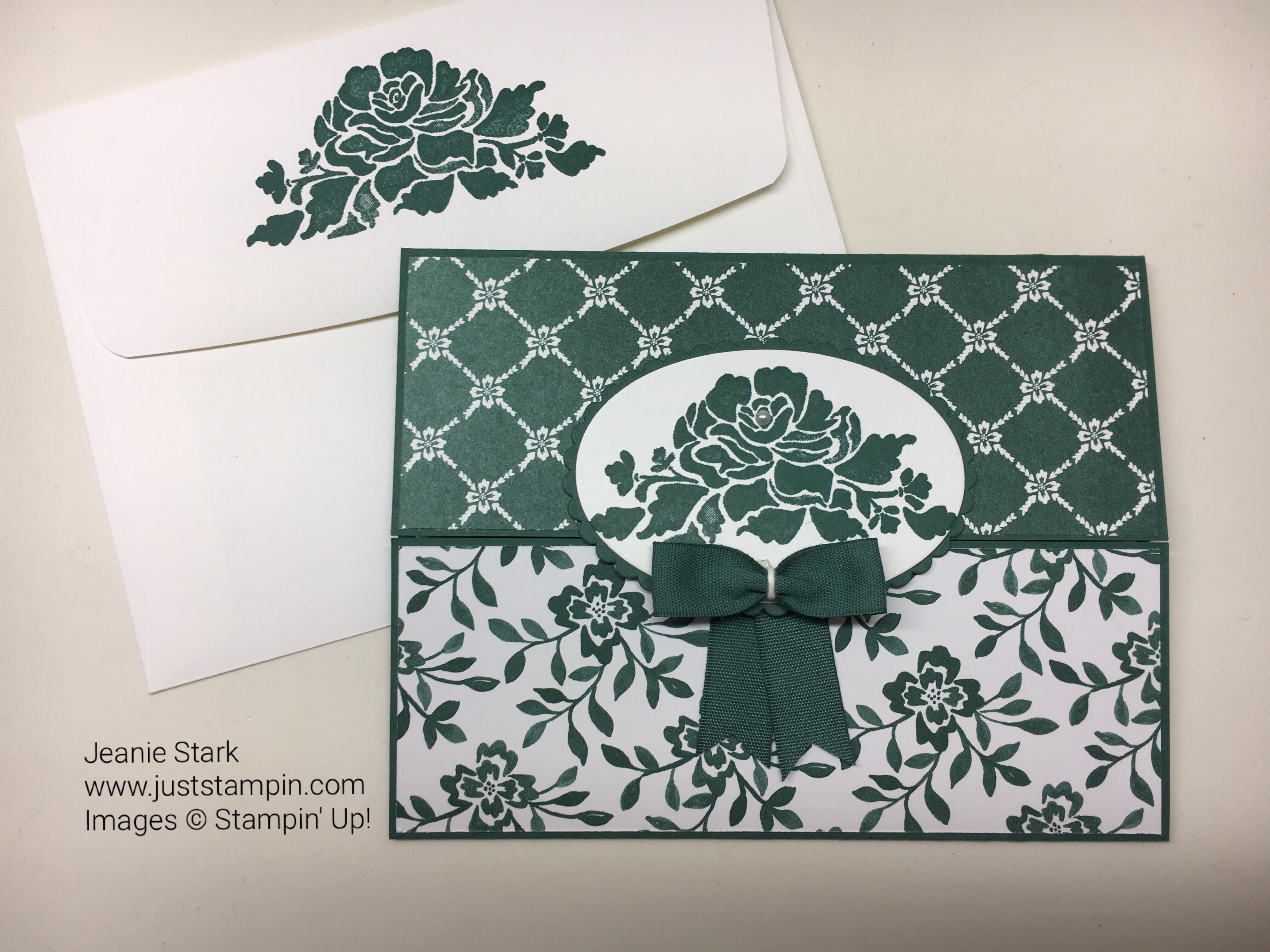 Stampin Up Floral Phrases and Fresh Florals Gate Fold thank you card idea - Jeanie Stark StampinUp