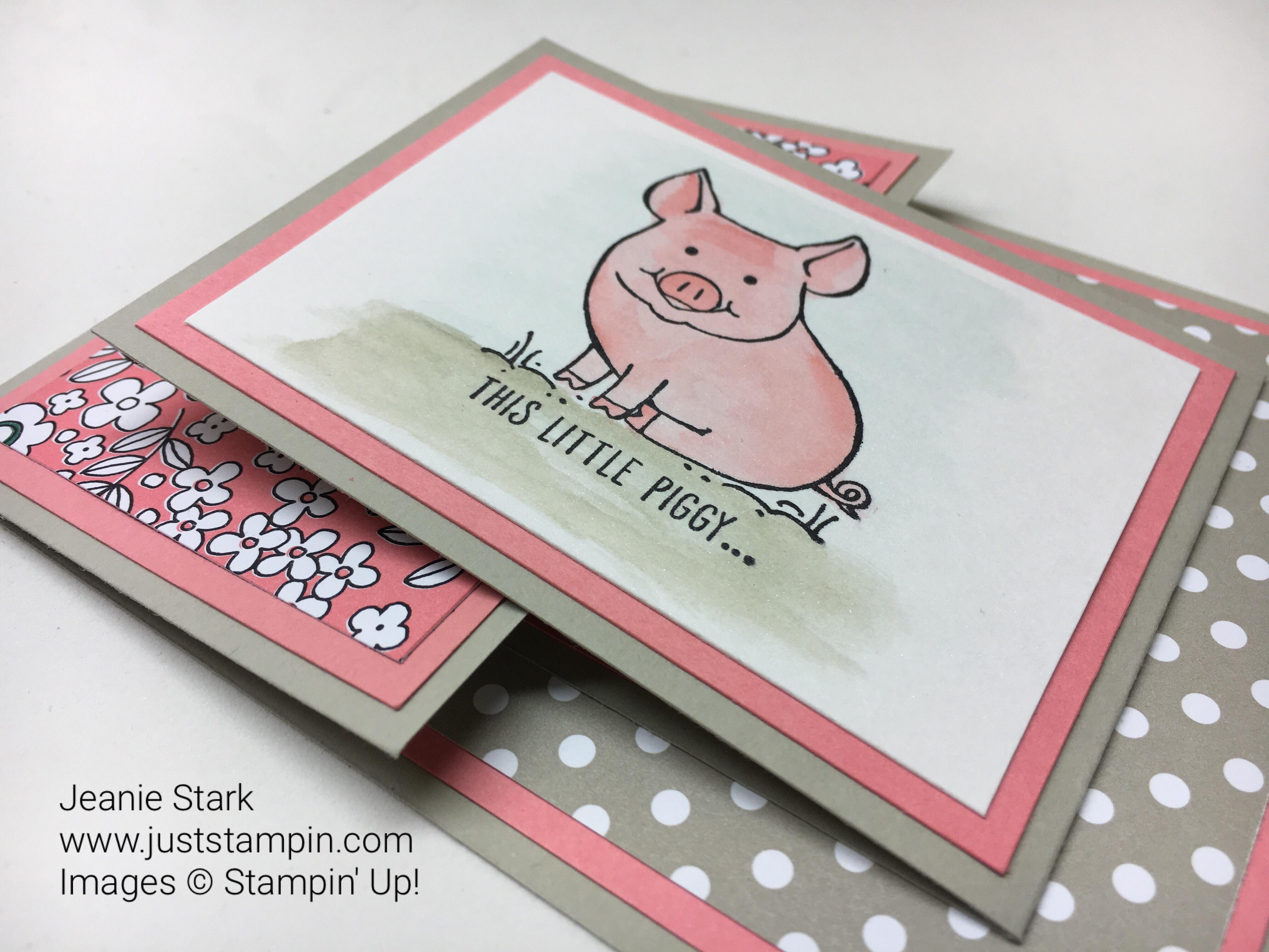 Stampin Up This Little Piggy fun fold card idea - Jeanie Stark StampinUp