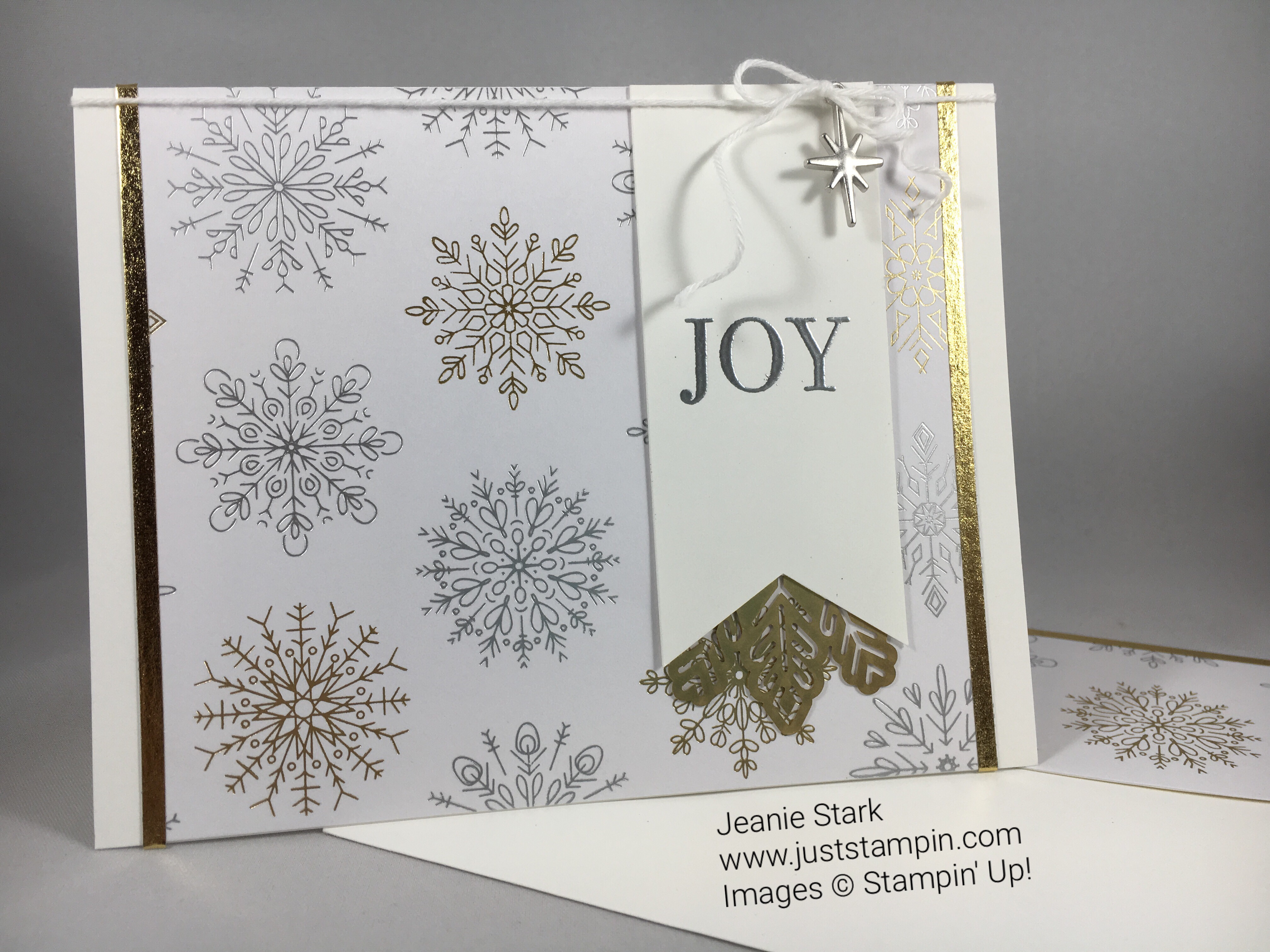 Joy card made using products from the Stampin Up Year of Cheer Suite. For inspiration and more visit www.juststampin.com