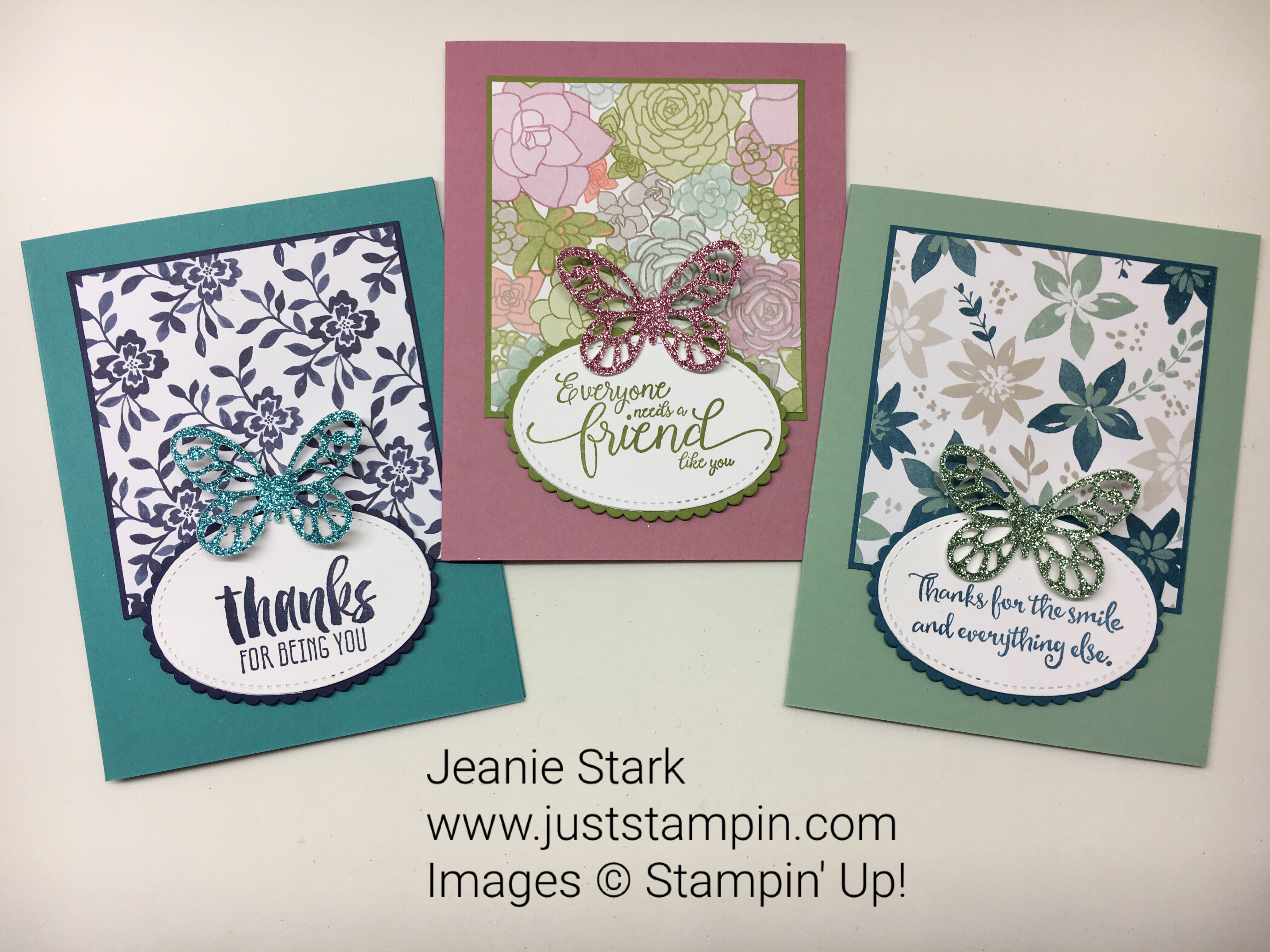 Stampin Up Clean & Simple Bold Butterfly Thank You card ideas - Jeanie Stark StampinUp
