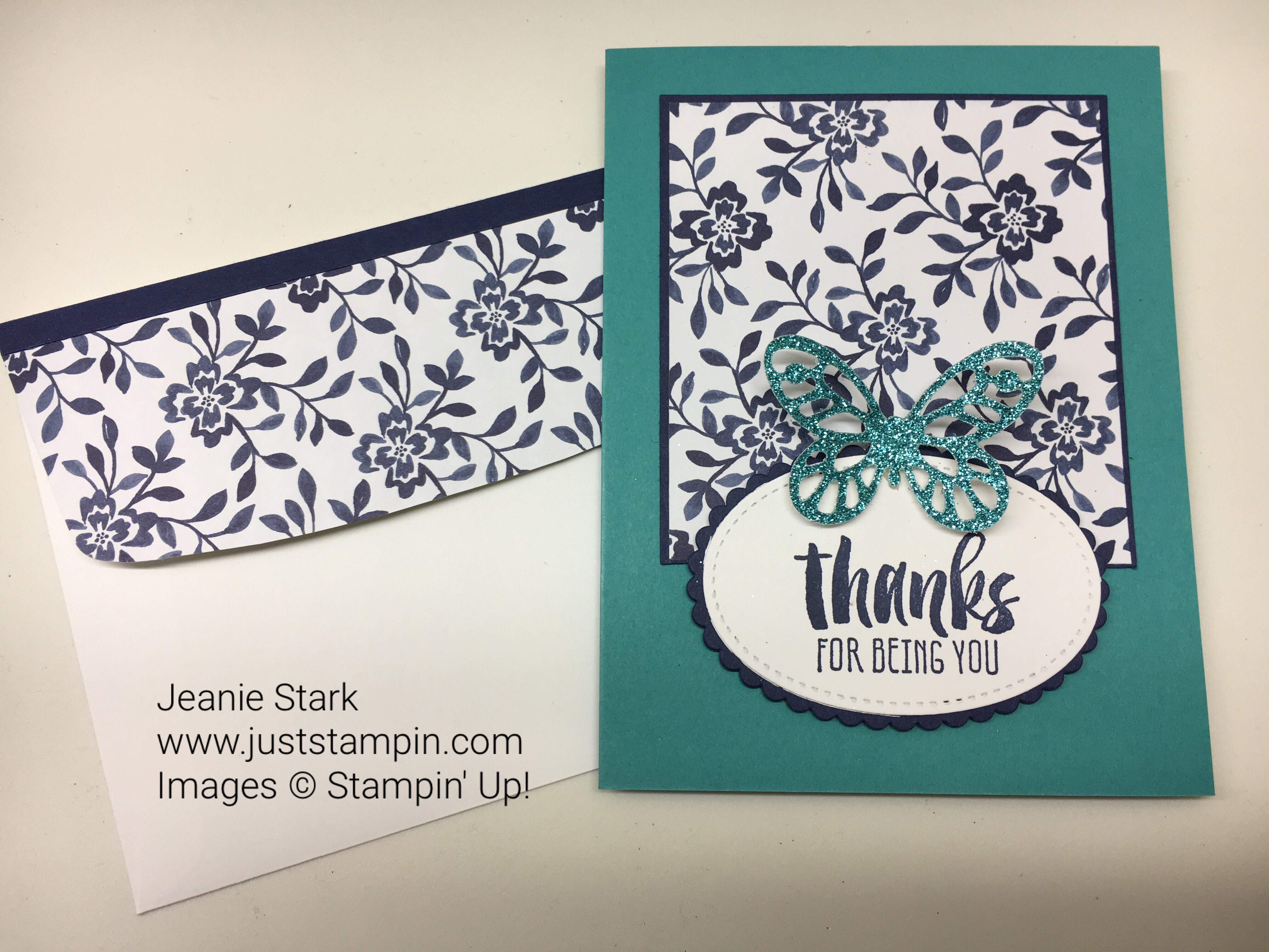 Stampin Up Clean & Simple Suite Sayings Bold Butterfly thank you card idea - Jeanie Stark StampinUp