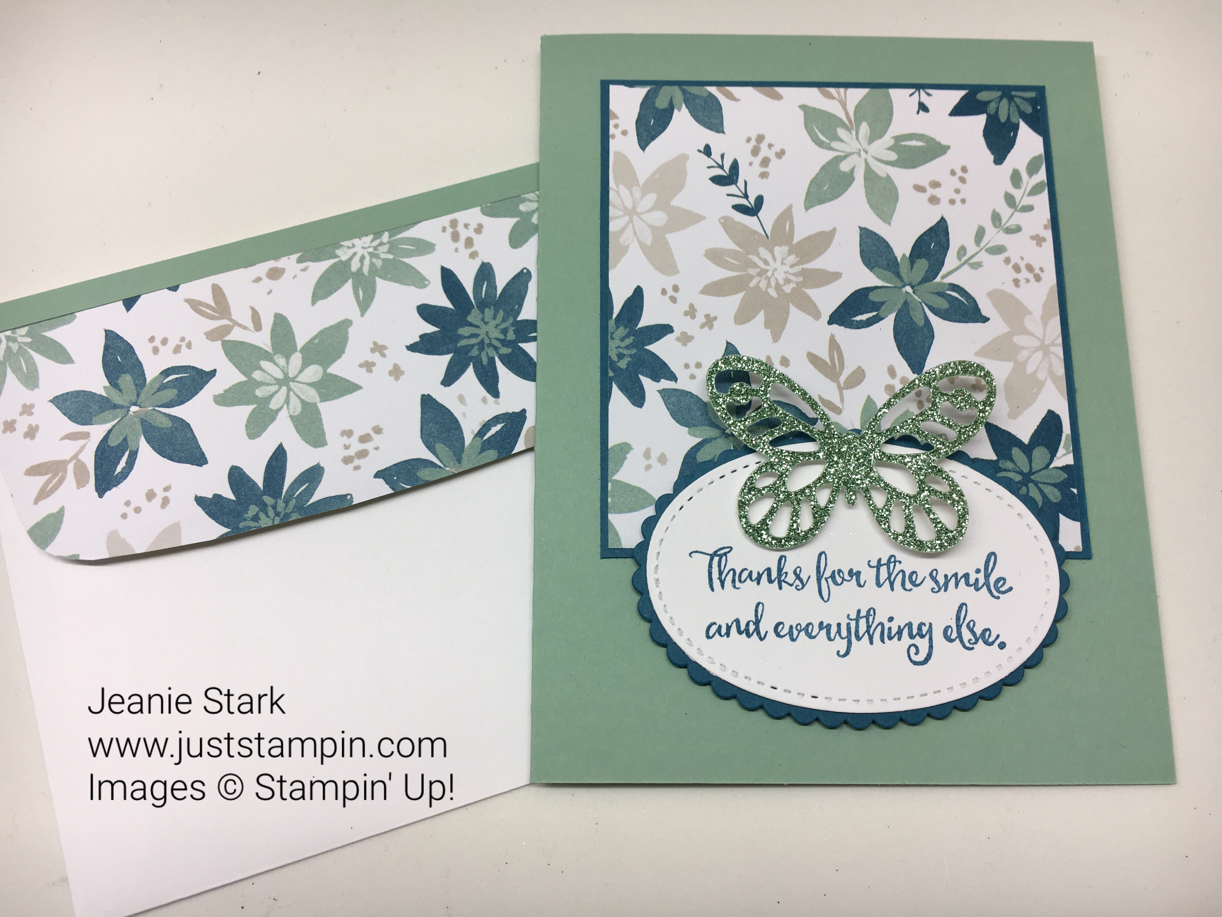 Stampin Up Clean & SImple Dragonfly Dreams Bold Butterfly thank you card idea - Jeanie Stark StampinUp
