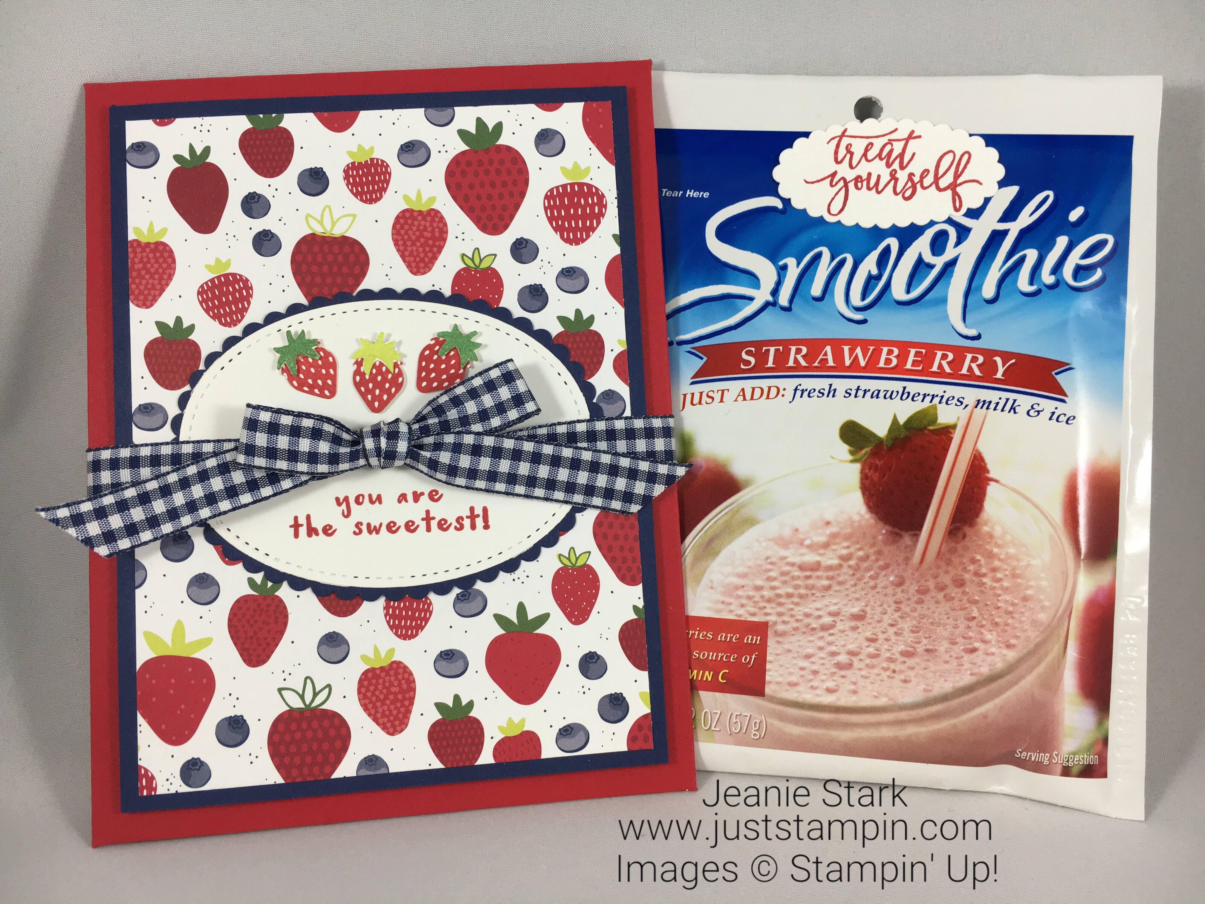 Stampin Up Envelope Punch Board and Fruit Basket Bundle envelope card idea to hold a special treat - Jeanie Stark StampinUp