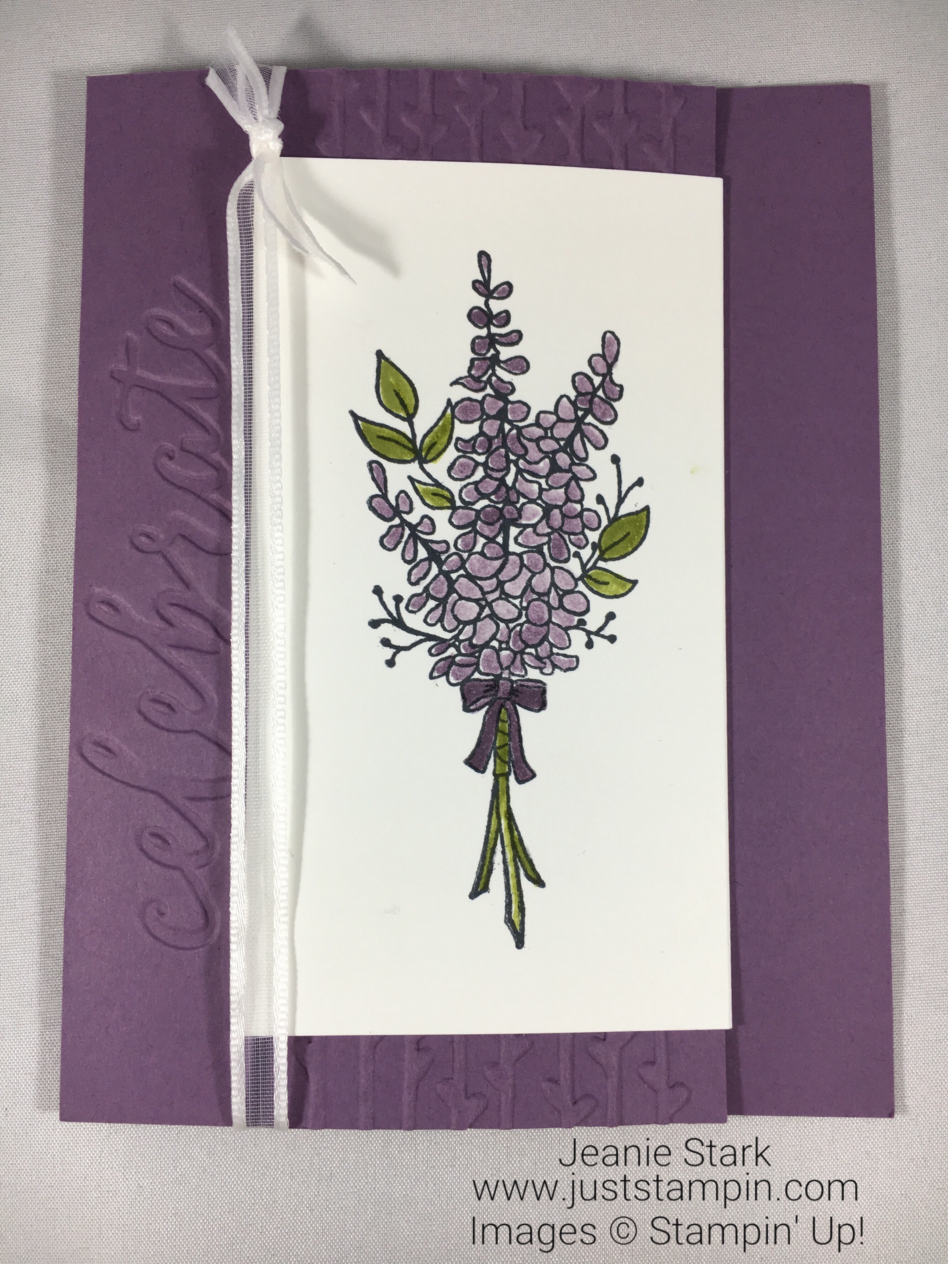 Stampin Up Lots of Lavender joy fold celebrate card idea - Jeanie Stark StampinUp