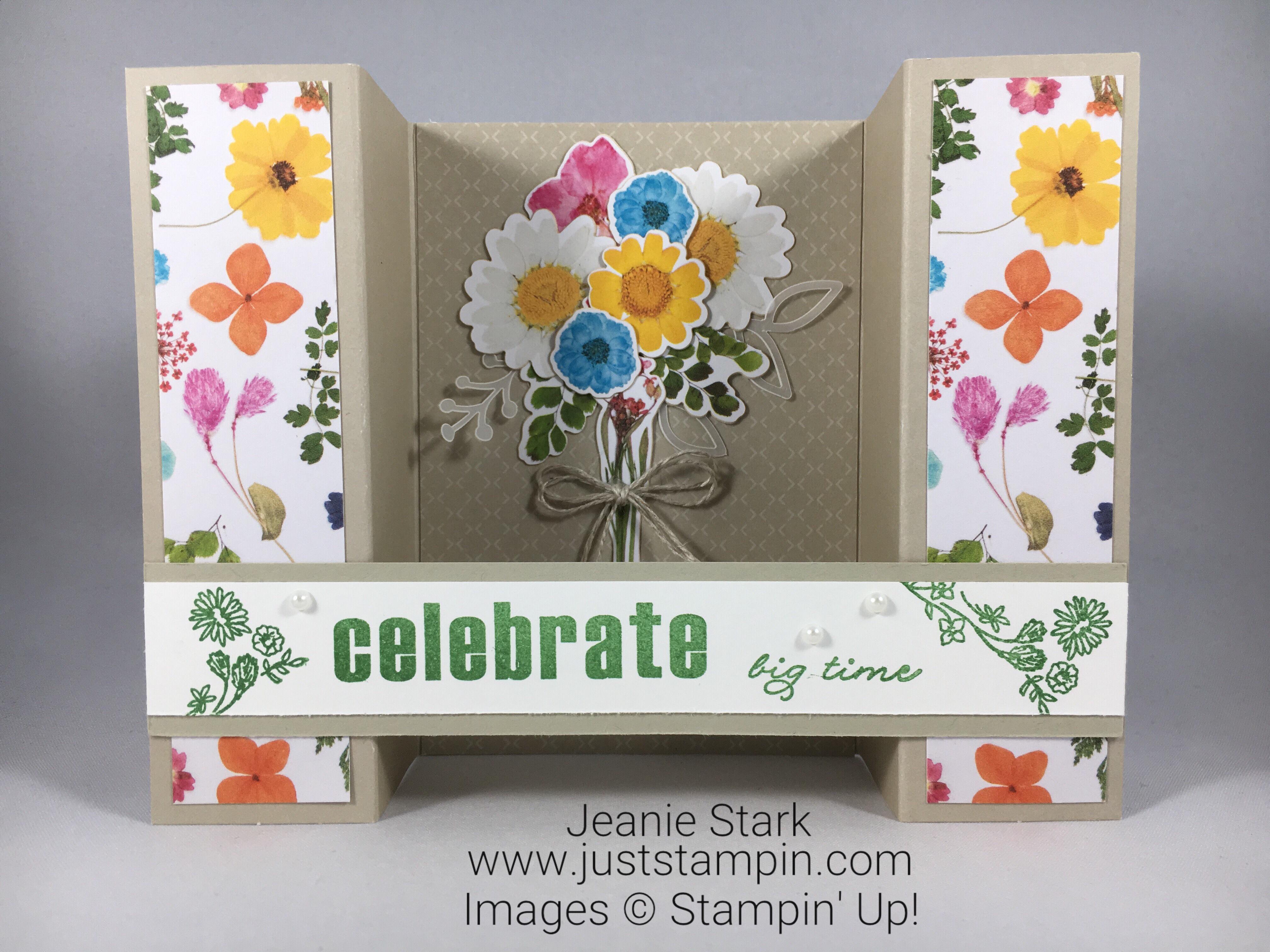 Paper Pumpkin Wildflower Wishes fun fold alternate celebrate card idea - Jeanie Stark StampinUp