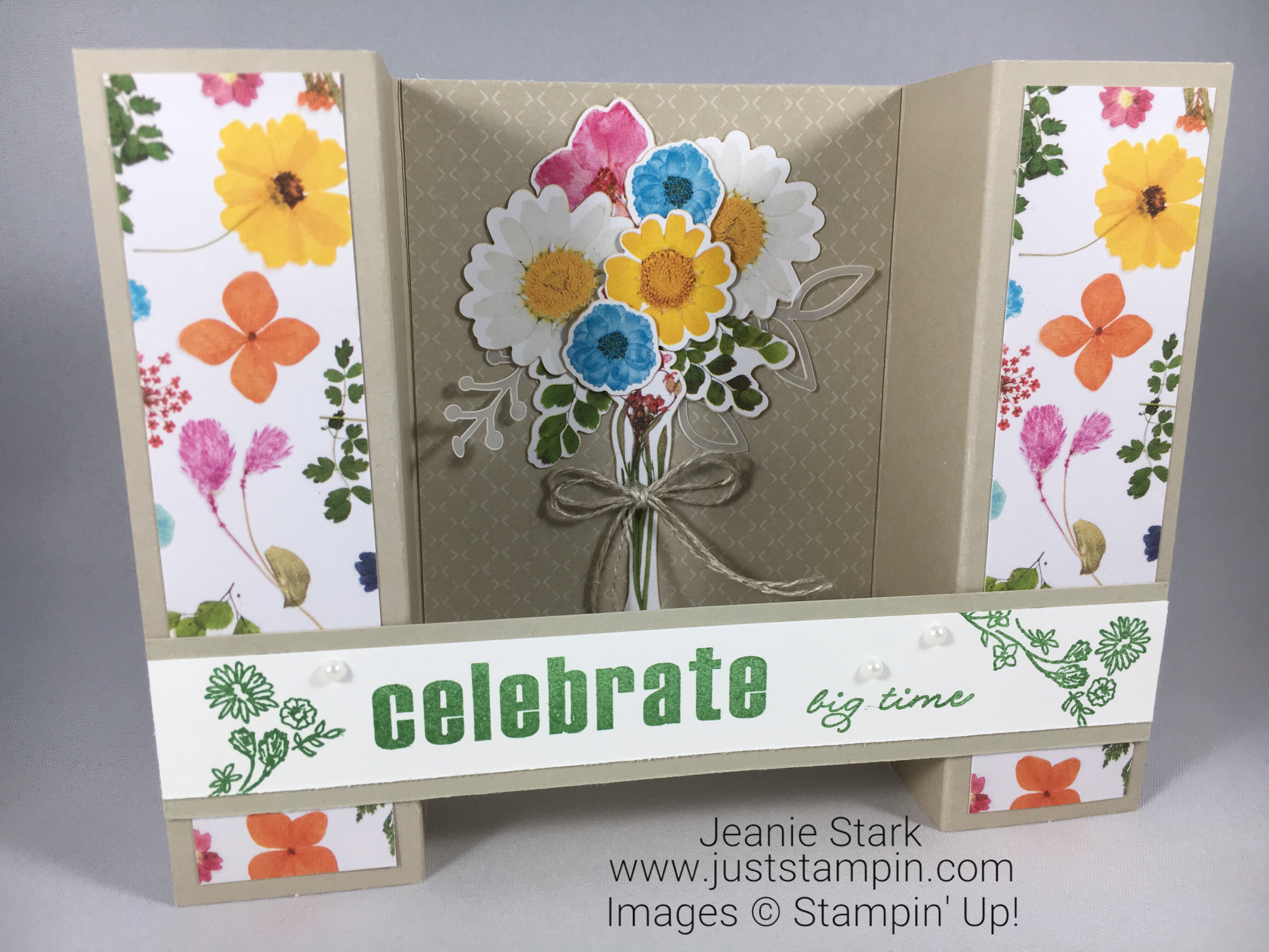 Stampin Up Paper Pumpkin Wildflower Wishes fun fold alternate celebrate card idea - Jeanie Stark StampinUp