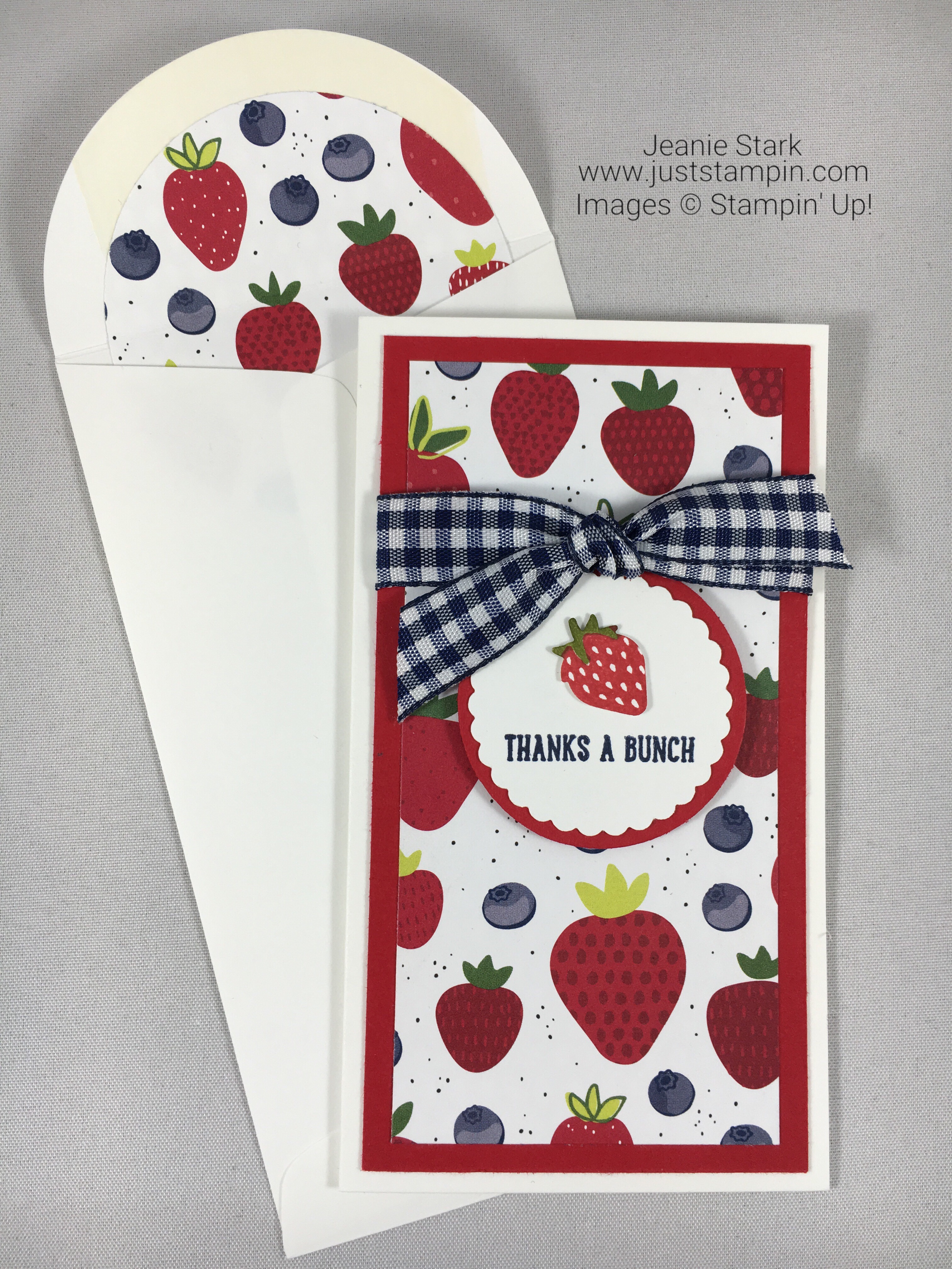 Stampin Up Thank you card ideas using Narrow Note Card and Tutti-frutti Designer Series Paper - Jeanie Stark StampinUp