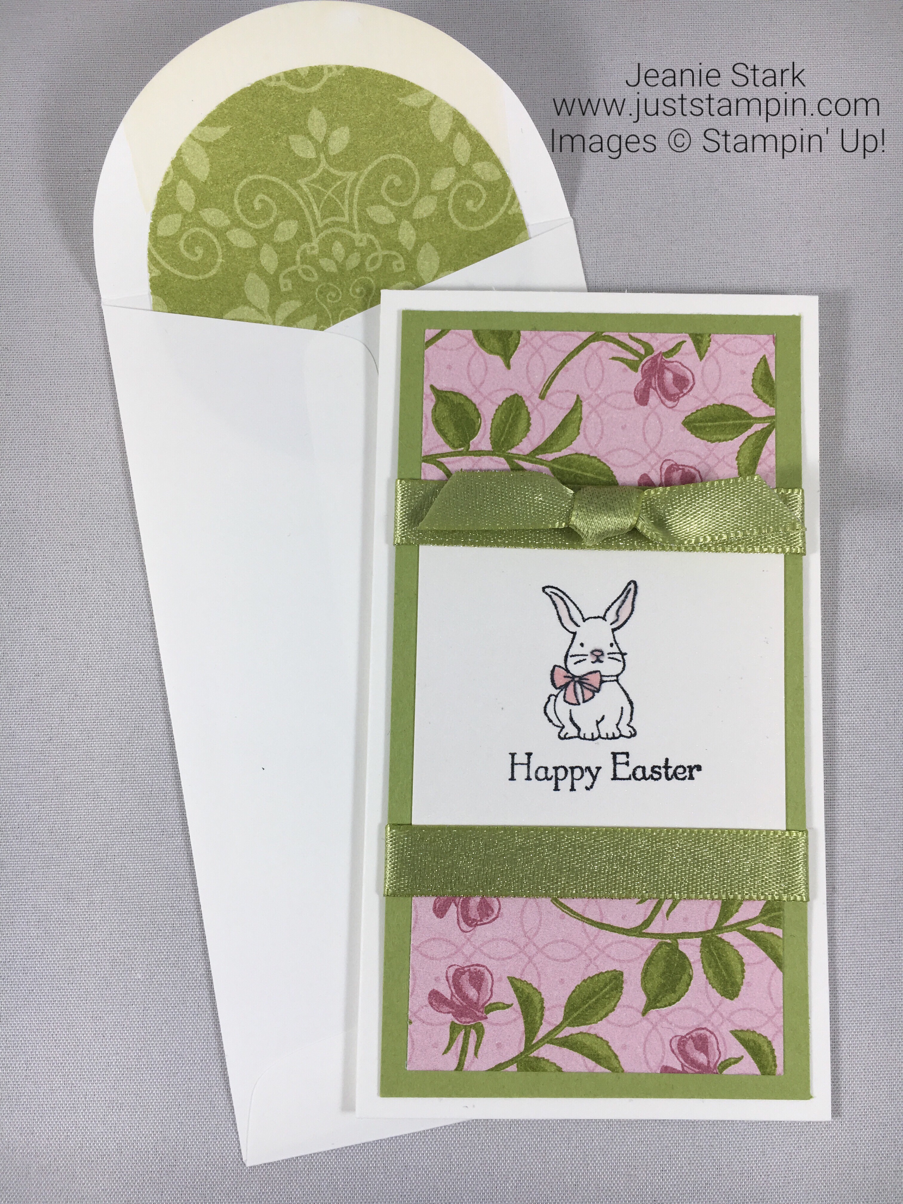 Stampin Up Easter card idea using Narrow Note Card and Petal Garden Designer Series Paper - Jeanie Stark StampinUp
