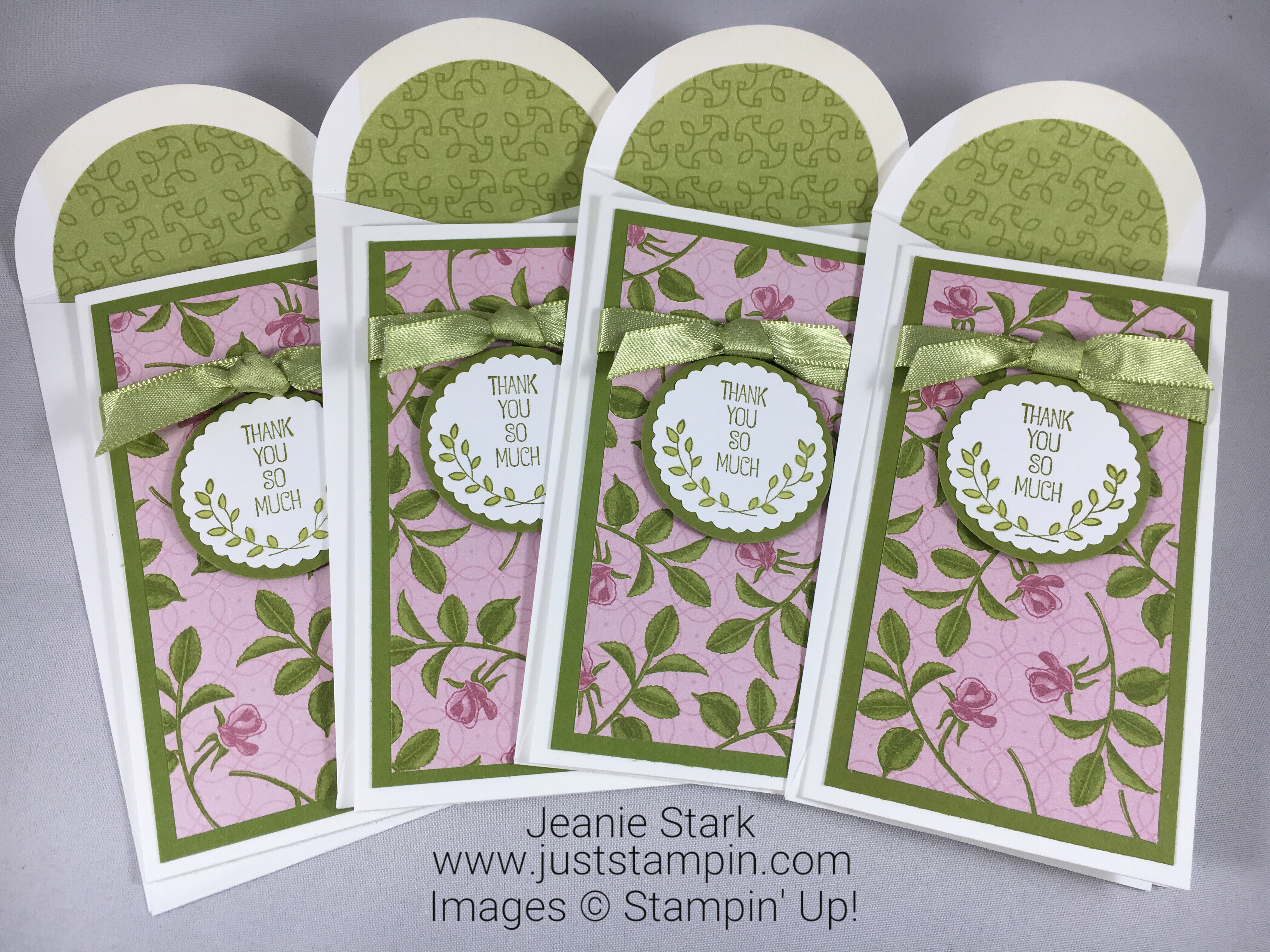 Stampin Up Thank you card ideas using Narrow Note Cards and Petal Garden Designer Series Paper - Jeanie Stark StampinUp