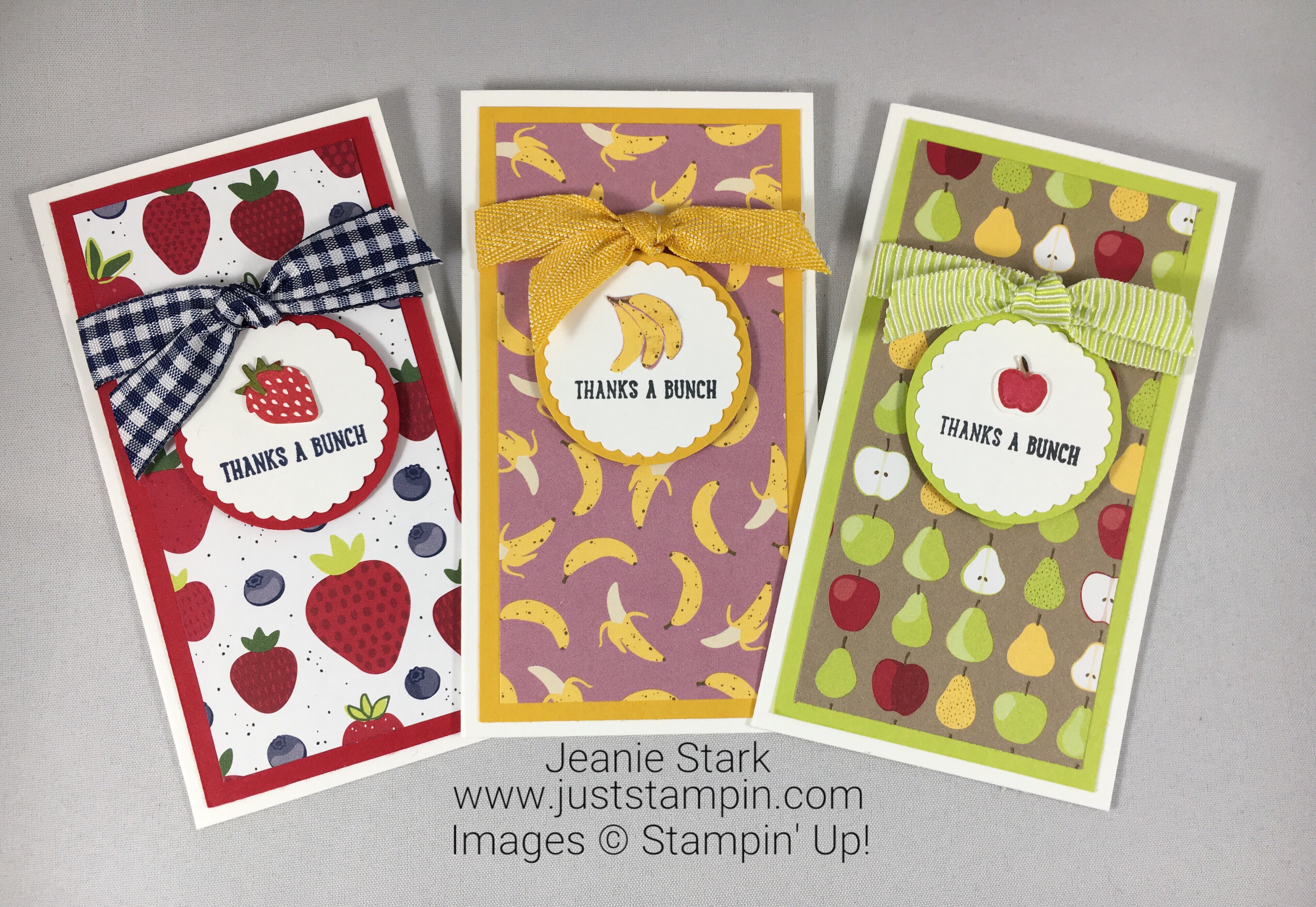 Stampin Up Thank you card ideas using Narrow Note Cards and Tutti-frutti Designer Series Paper - Jeanie Stark StampinUp