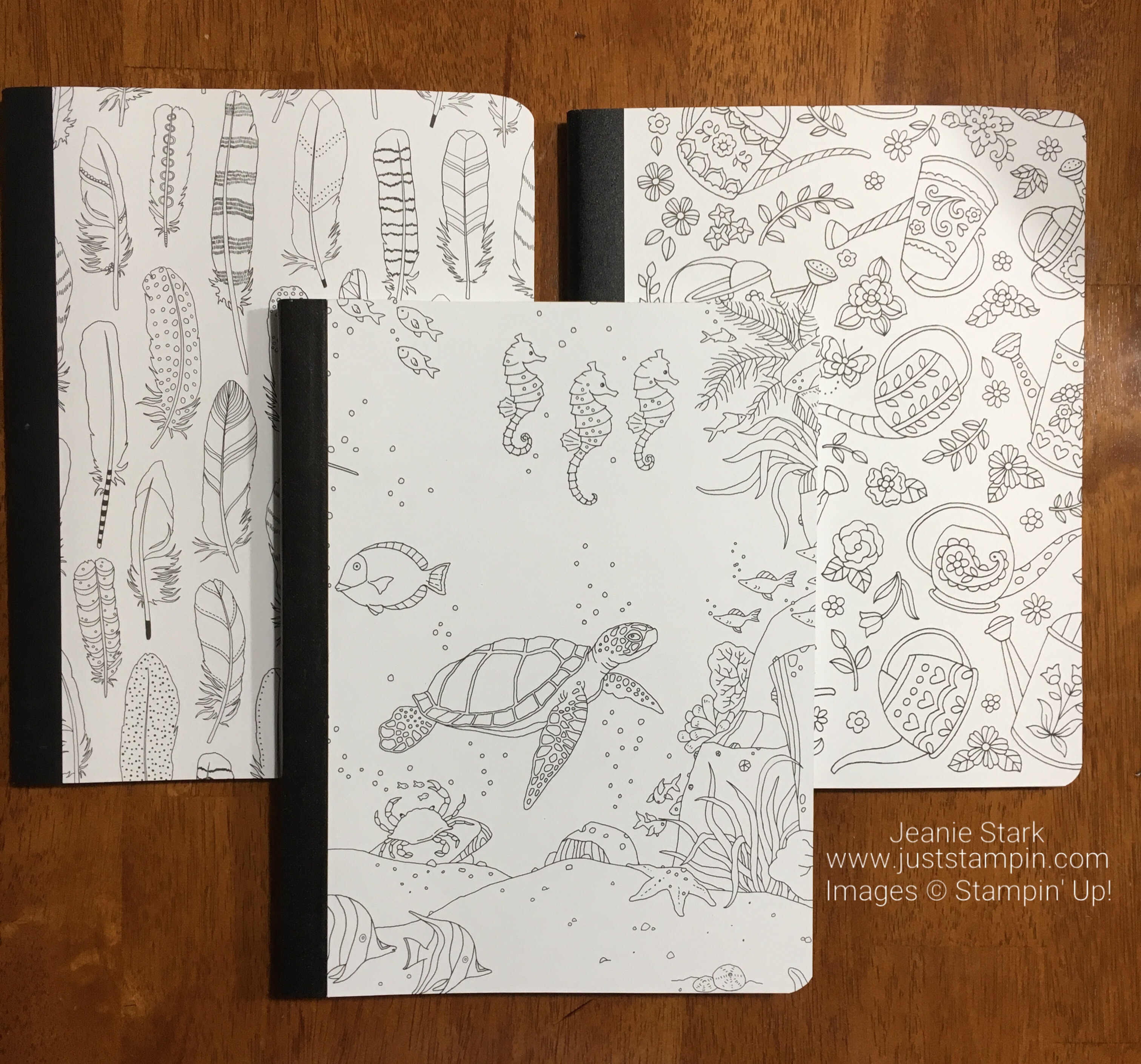Stampin Up Just Add Color Specialty Designer Series Paper composition book cover idea - Jeanie Stark StampinUp