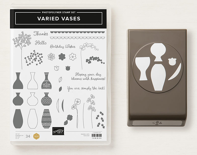 Stampin Up Varied Vases Stamp Set and matching punch - Purchase as a bundle and save 10%! Visit www.juststampin.com for inspiration and ordering. Jeanie Stark StampinUp