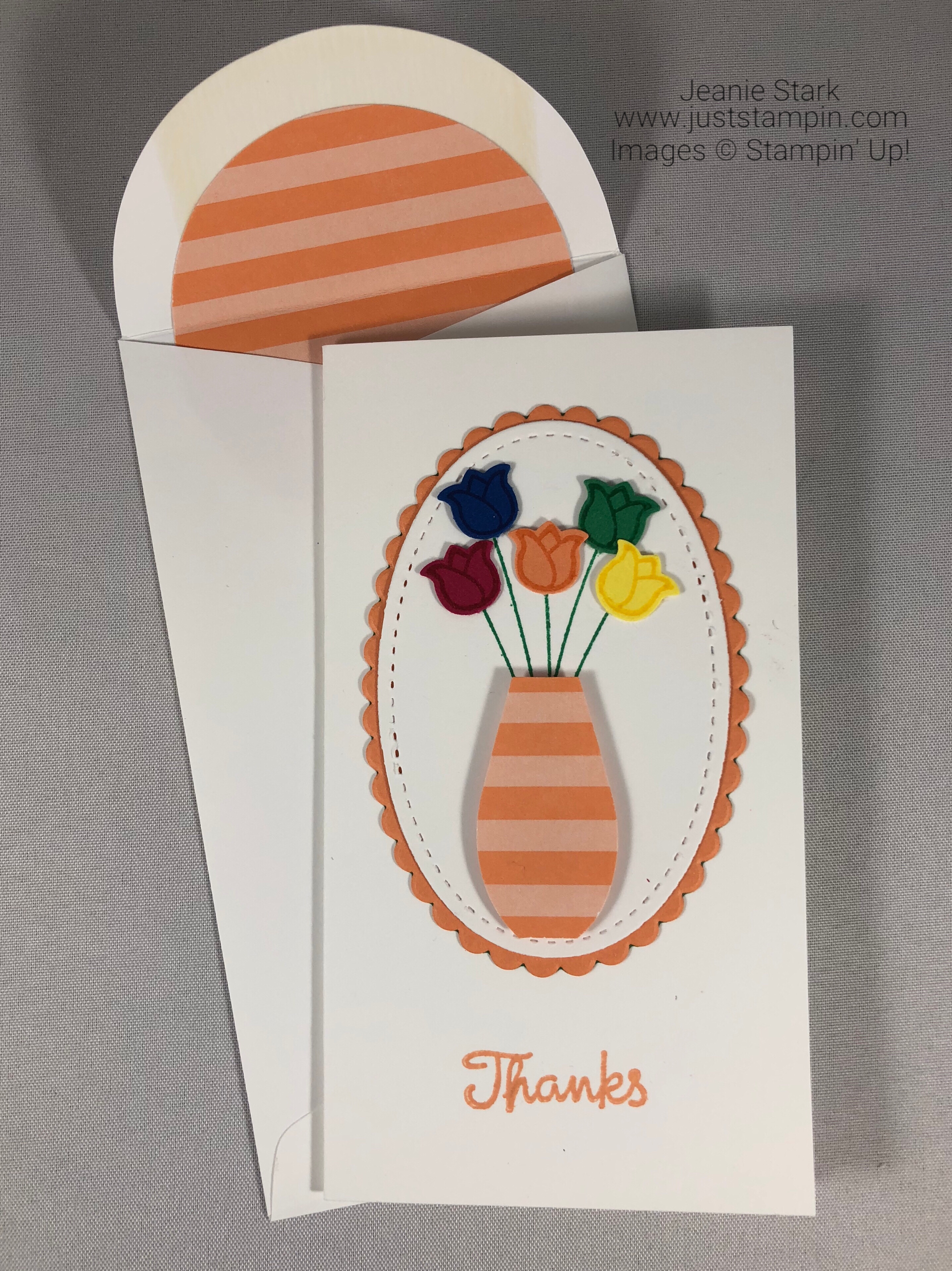 Stampin Up Varied Vases In Color thank you card idea - Jeanie Stark StampinUp