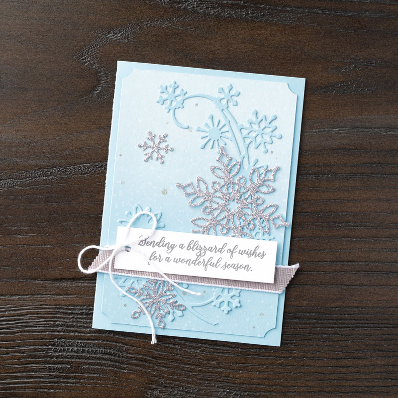 Stampin Up Snowfall Thinlits Dies and Snow is Glistening winter card idea - Jeanie Stark StampinUp