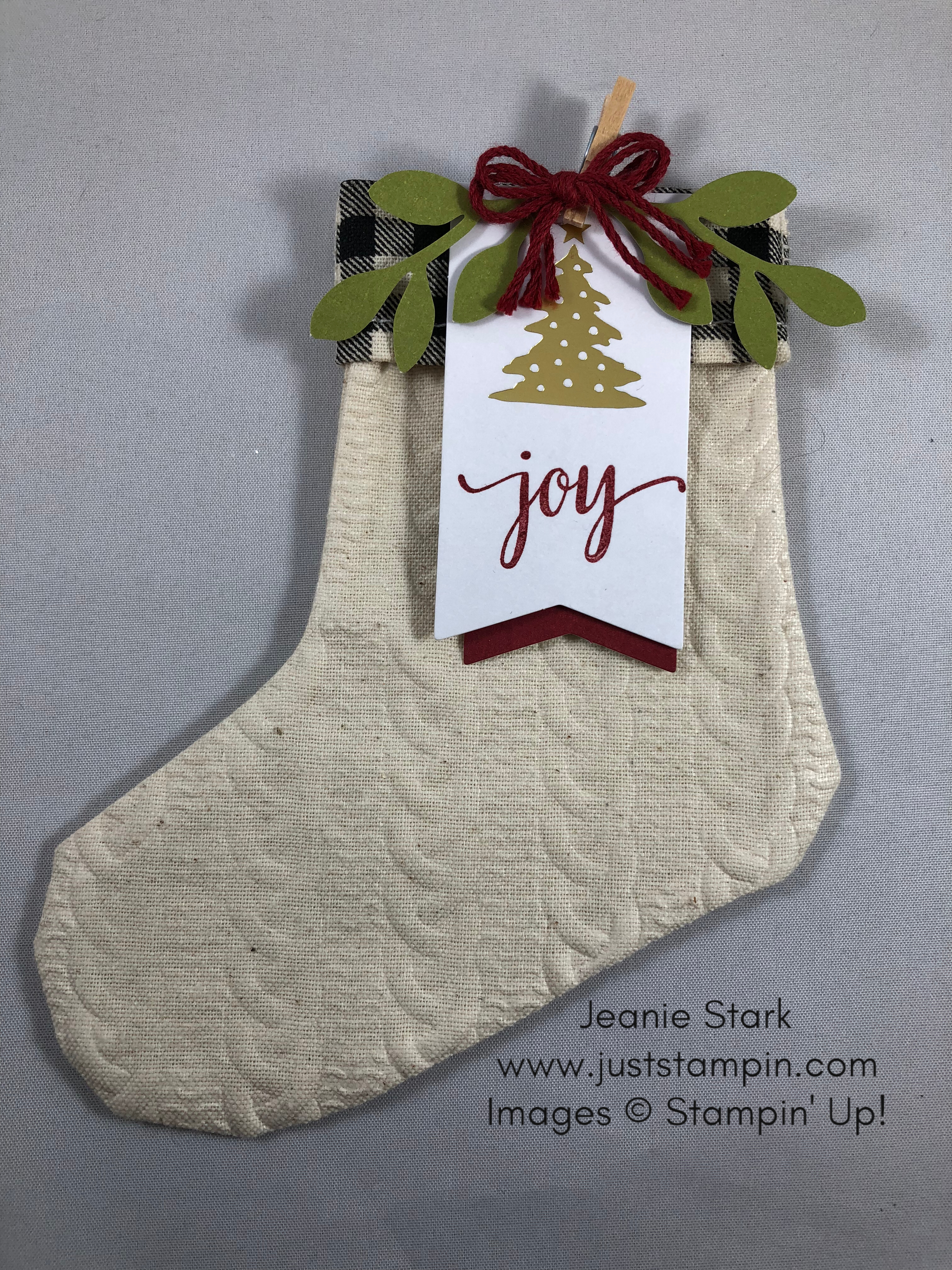Stampin Up Paper Pumpkin Back and Plaid embossed Christmas Stocking - Jeanie Stark StampinUp www.juststampin.com