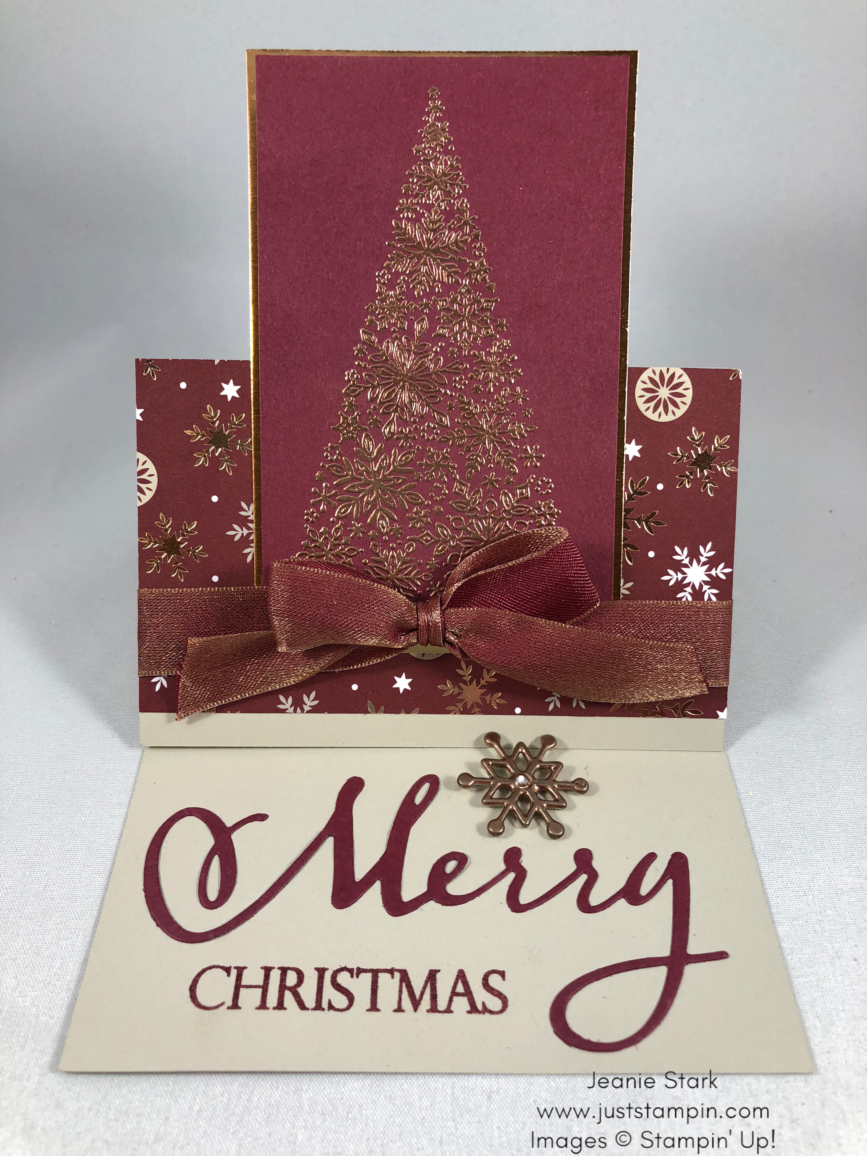 Stampin Up Joyous Noel, Merry Christmas to All, and Snow is Glistening Fun Fold heat embossed Christmas card idea - Jeanie Stark StampinUp