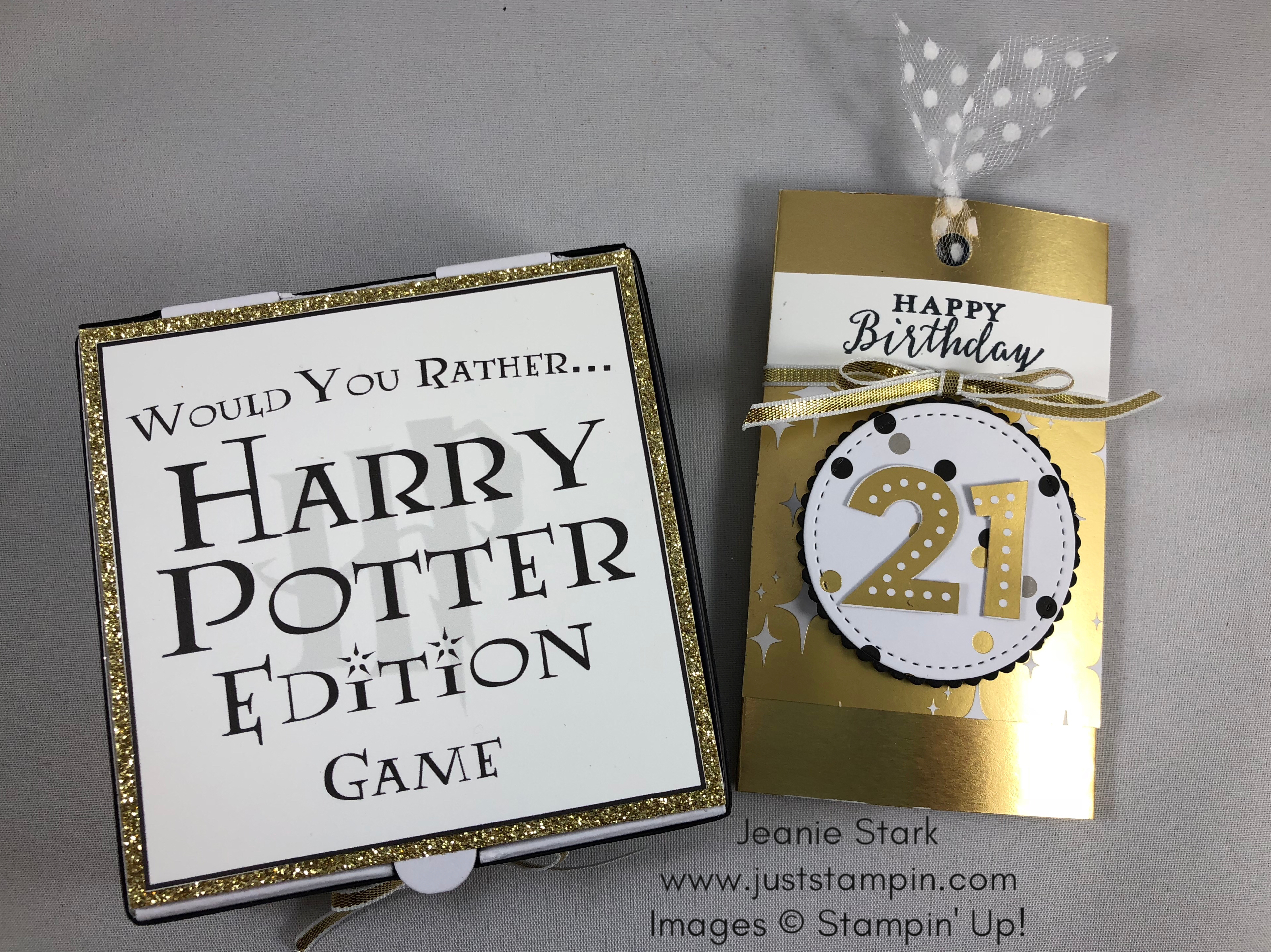 Stampin Up Broadway Bound 21st birthday gift card holder and mini pizza box game idea - Jeanie Stark StampinUp