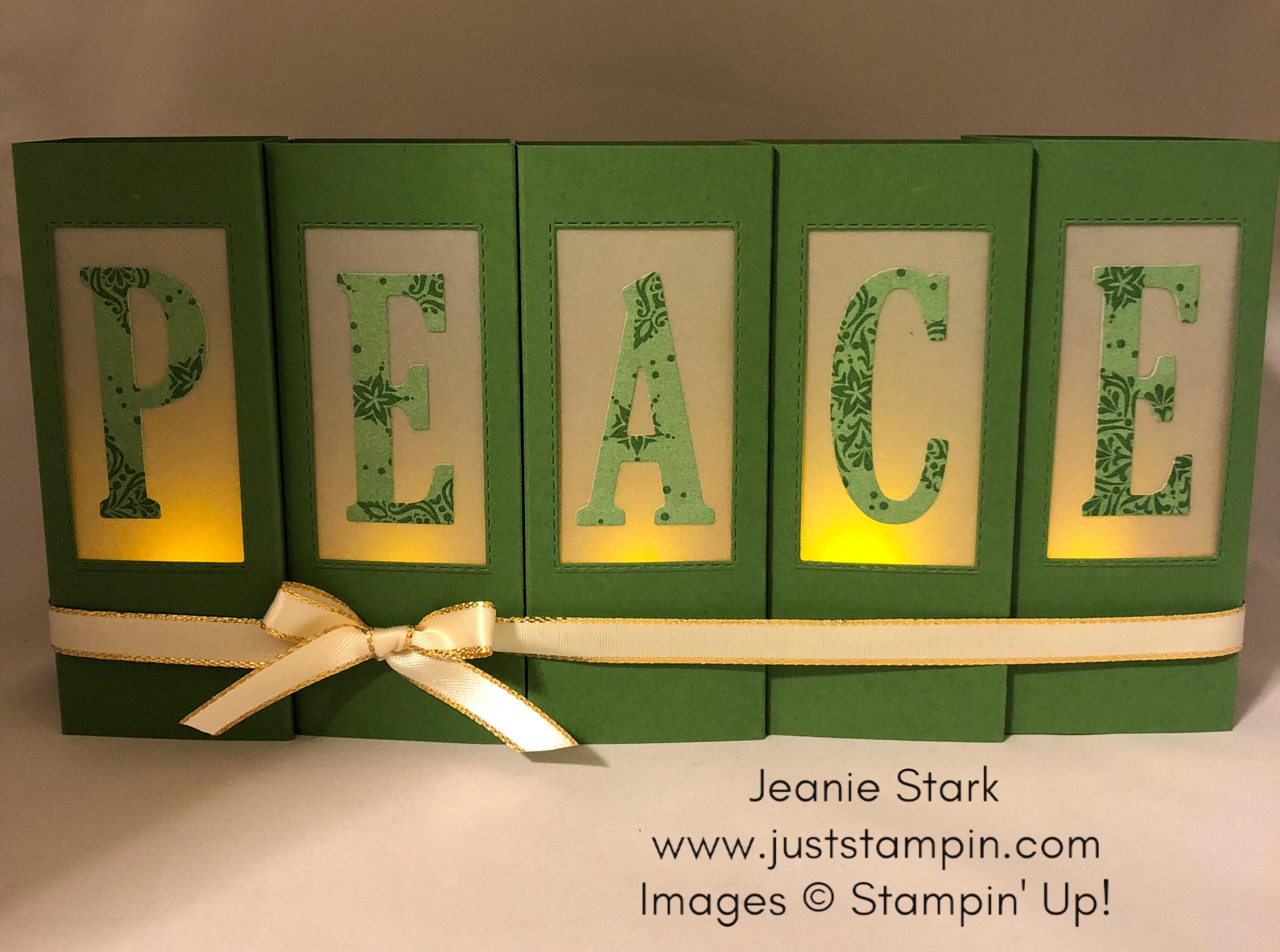 Stampin Up Rectangle Stitched Framelits Dies and Large Letter Framelits Peace Luminaries for Christmas Home decor idea - Jeanie Stark StampinUp