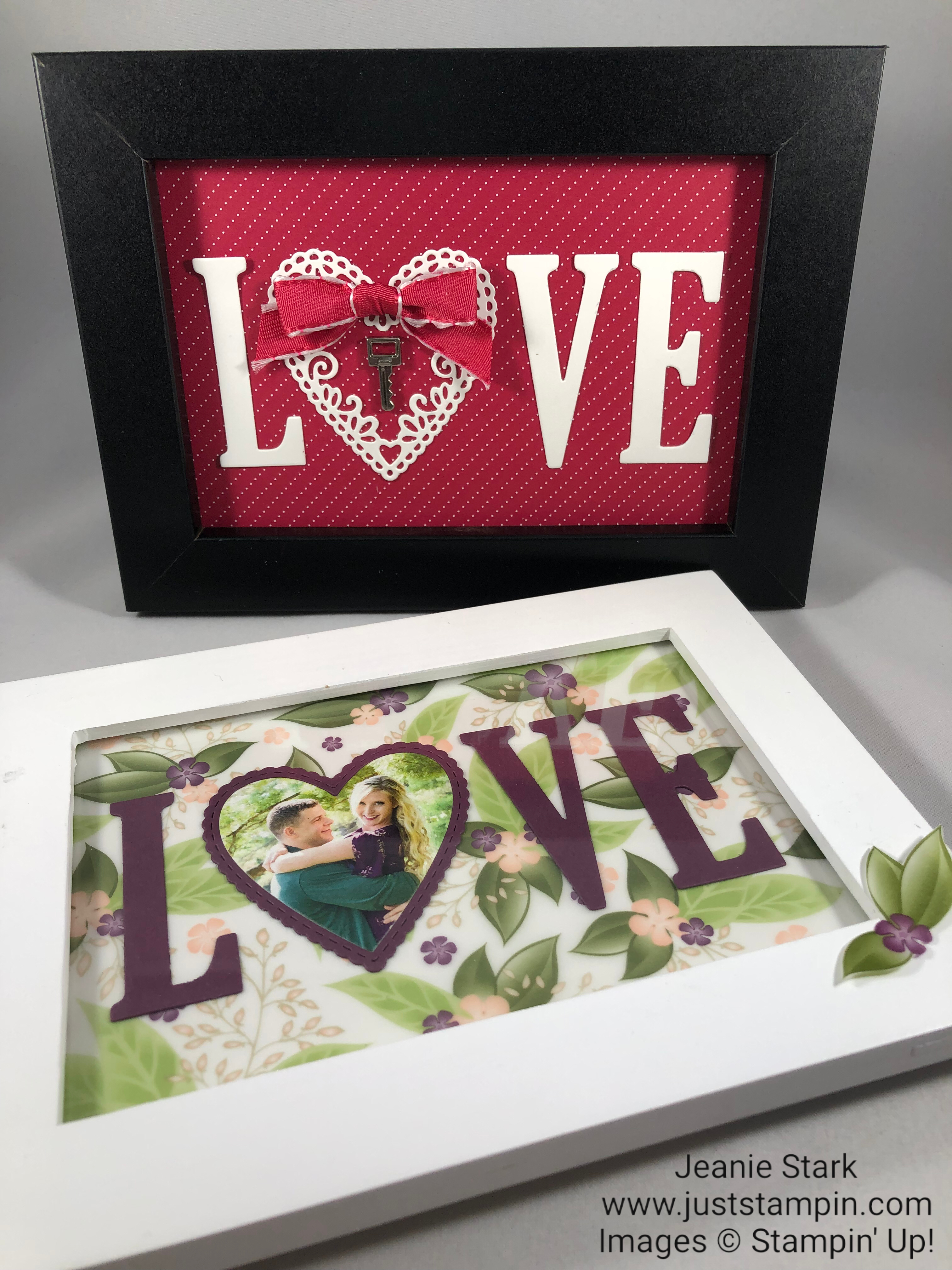 Stampin Up Large Letter Framelits and Be Mine Stitched Framelits Dies Framed Art Gift Ideas for Valentine's Day, Wedding, or Anniversary - Jeanie Stark StampinUp
