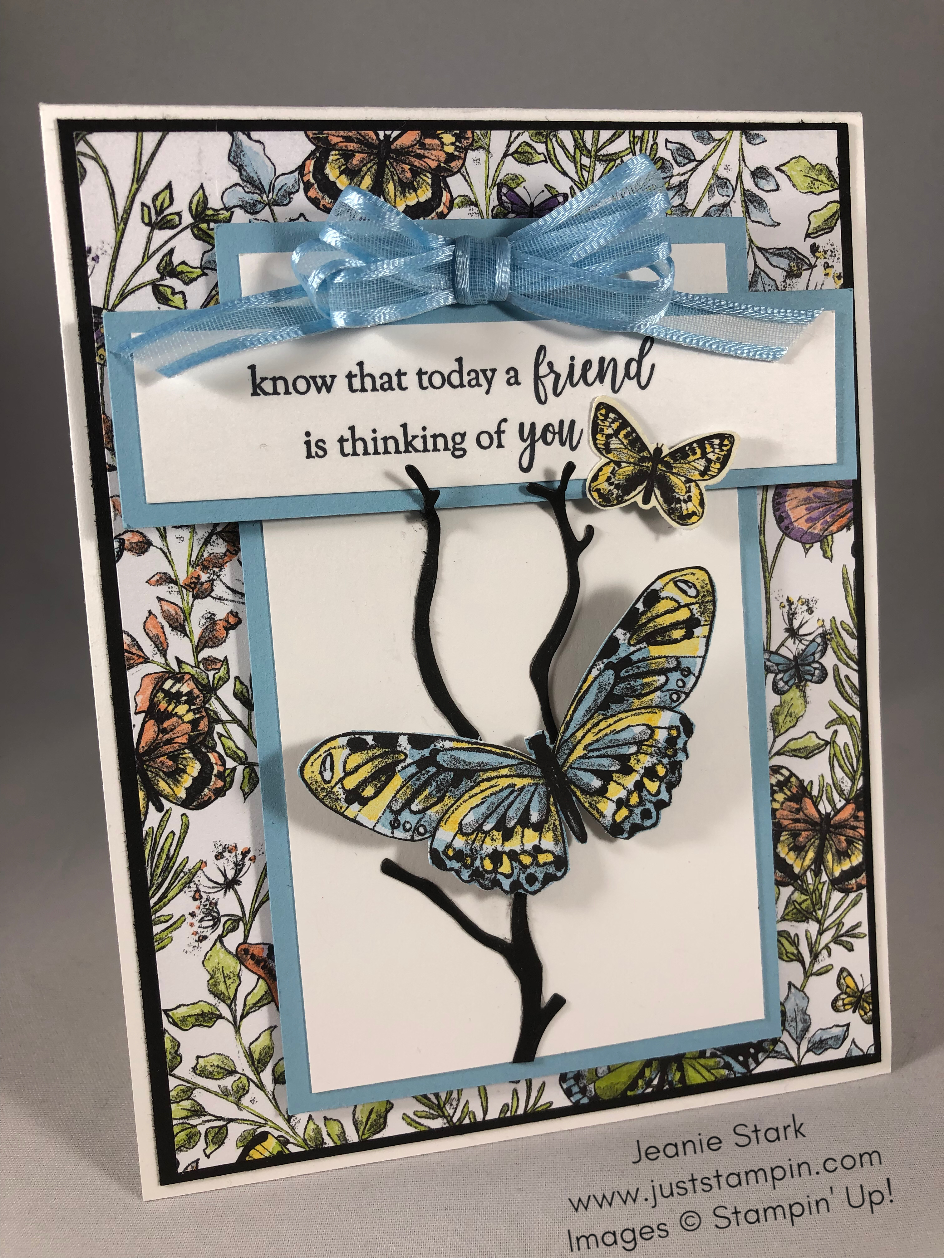 Stampin Up friend card idea using Botanical Butterfly Designer Series Paper and Part of My Story Stamp Set - Jeanie Stark StampinUp