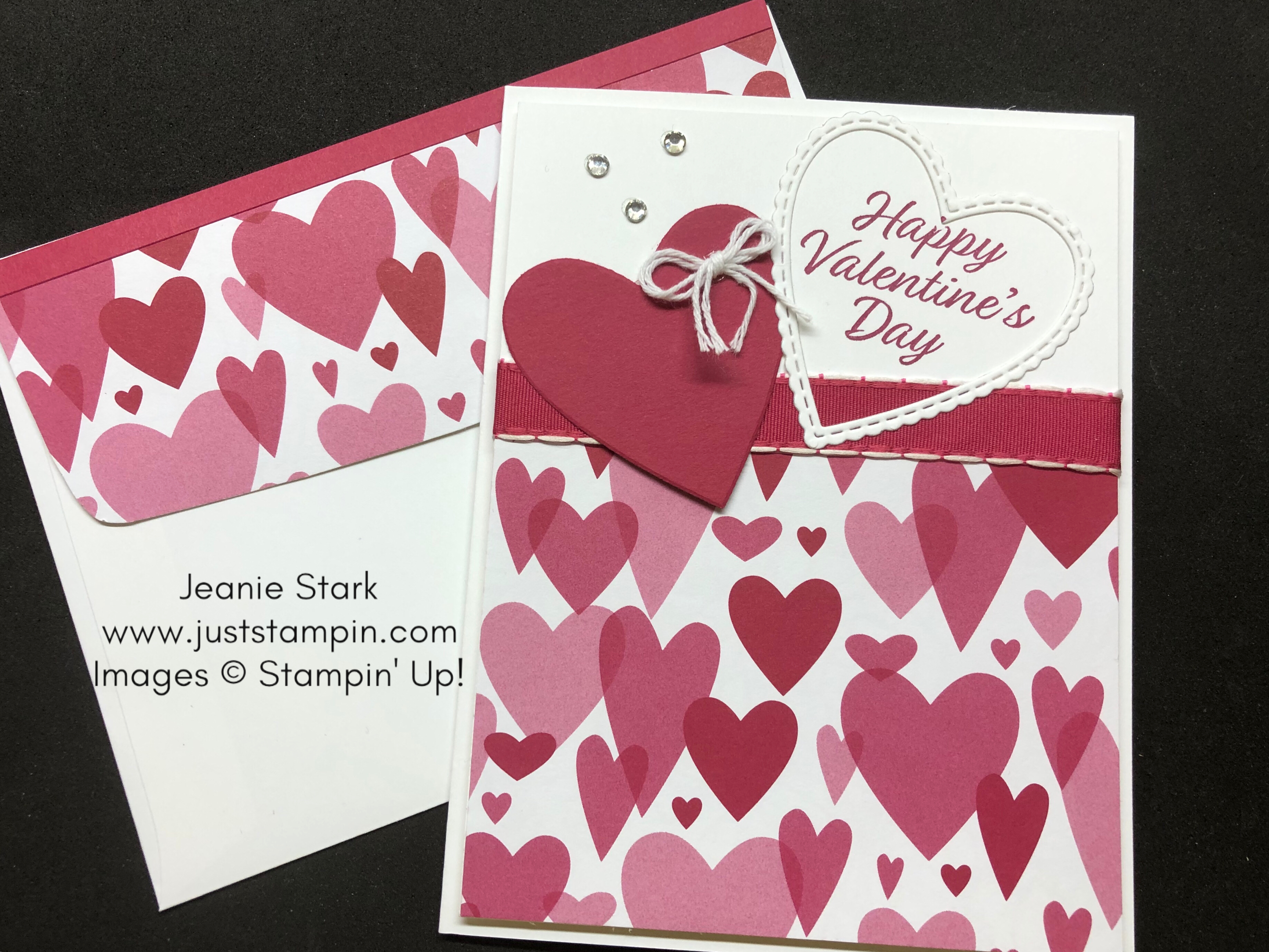 Stampin Up Valentines Day card idea using the Meant to Be Stamp Set and Be Mine Stitched Framelits Dies - Jeanie Stark StampinUp